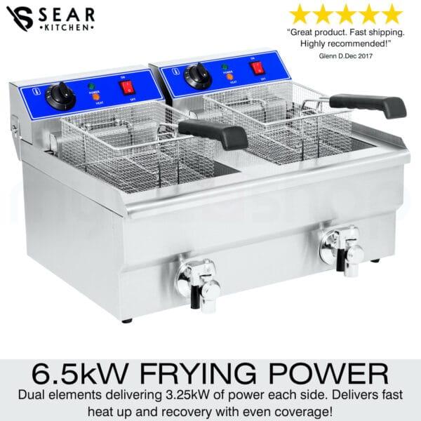 SEAR Electric Commercial Deep Fryer Double 26L Chip